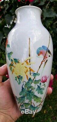 Vase Antique Chinois Exceptionnel Avec Marque Qianlong