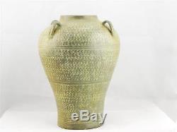 Vase Chinois Antique En Porcelaine, Couleur Celadon, Fait Main, Excellent Etat