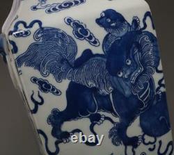Vase Chinois Rare En Porcelaine Bleue Et Blanche Avec Qianlong Marqué 42cm (664)