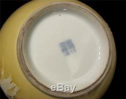 Vase De Sol Jaune Chinois Avec Joint De Décoration De Fleur En Émail Blanc