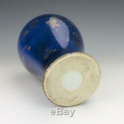 Vase Émaillé Bleu À Papillons Dorés En Porcelaine De Chine Antique Jingdezhen