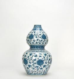Vase En Porcelaine À Double Courge Aux Fleurs Bleues Et Blanches Finement Peintes De Chine