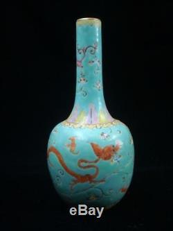 Vase Jiaqing De Bouteille De Bouteille De Porcelaine De Peinture De Lustre Chinois Vert