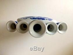 Vase Tulipe Dragon Phoenix En Porcelaine Vintage Chinois Signé