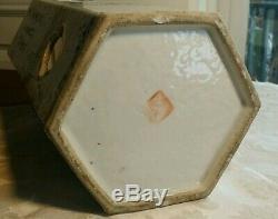 Vase Vintage Cylindre En Porcelaine Peinte À La Main Chinoise Signée Ancienne Réparation Is As