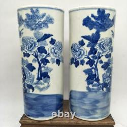 Vases Chinois Du Vieux Bleu Et Blanc D'oiseau Et Motif De Fleur De Porcelaine Hatstand