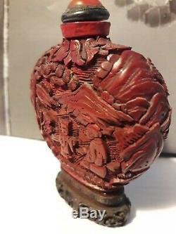 Véritable Tabatière Chinois Cinabre Avec Support Sculpté