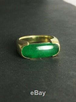 Vert Brillant Naturel Chinois Jade Jadéite Bague En Or Selle 15.4g