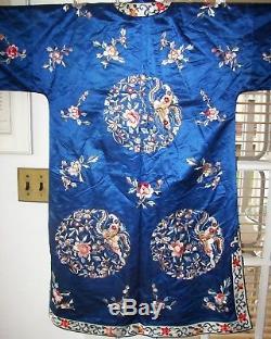 Veste Kimono Vintage Doublée De Manteau En Soie Brodée Chinoise