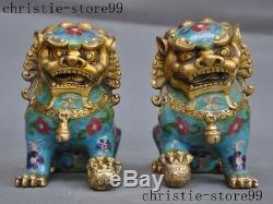 Vieux Bronze Chinois Feng Shui Cloisonnée Lion Foo Propice Chien Beast Statue Paire