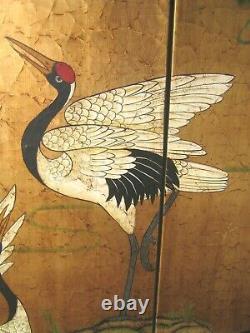Vieux Écran Chinois 72 X 48 3 Grues De Panneau Diviseur De Chambre Vgc