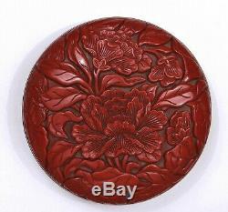 Vieux Style Chinois, Laque De Cinabre De Style Ming, Boîte À Encre Ronde Savante Pivoine Sculptée