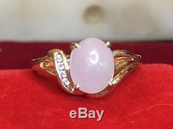 Vintage 14k Or Lavande Jade Jadéite Diamant Bague Concepteur Signé Chinois