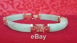 Vintage 14k Or Véritable Vert Jade Jadéite Bracelet Chinois Signé Cn Pierre Précieuse
