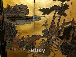Vintage Asiatique Chinois Coromandel Écran 4 Panneau Mural