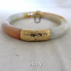 Vintage Bracelet Chinois 14k En Or, Orange Et Blanc Jadeite Jade Bangle (59,8g)