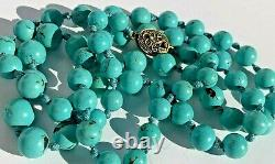 Vintage Chinese Export Turquoise Perles Collier Avec Filigee Fermoir En Argent Sterling