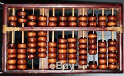 Vintage Chinese Hainan Huanghuali Sculpté Abacus 11 Colonnes En Bois X 7 Perles