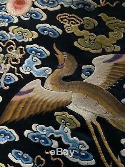 Vintage Chinese Silk Rang Badge Bijoux Waves Boxbird Mandarin Place As Est