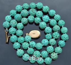 Vintage Chinois 30g Turquoise Gravée 7-8mm Shou Bead Col