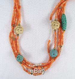 Vintage Chinois Corail Sculpté Turquoise Perles Perles Cinq Strand Collier