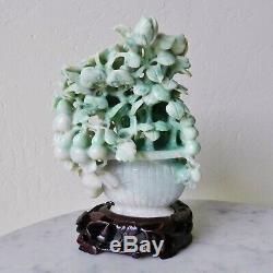 Vintage Chinois D'apple Jade Vert Et Blanc Sculpture Prunus Bush Jadéite Néphrite