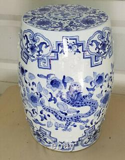 Vintage Chinois D'exportation Du Dragon Phoenix Bleu Et Blanc En Porcelaine De Jardin Tabouret De Siège