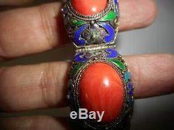 Vintage Chinois D'exportation Vermeil Émail Filigrane Bracelet Corail