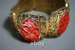 Vintage Chinois Export Argent Vermeil Filigree Main Sculpté Cinnabar Bracelet
