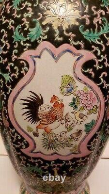 Vintage Chinois Famille Verte Peranakan Straits Tongzhi Marque Mais De Vase Proc
