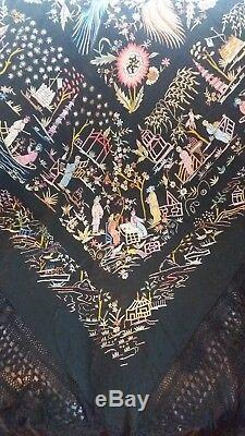 Vintage Chinois Heavy Noir Brodé Piano Shawl Soie Avec Long Macrame Fringe