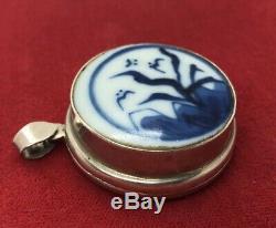 Vintage Collier D'argent Sterling 925 Antique Céramique Médaillon Chinois Pendentif Bleu