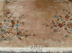 Vintage Hand Made Art Déco Chinois Oriental Beige Pink Wool Tapis 345x305cm