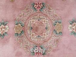 Vintage Hand Made Art Déco Chinois Tapis Rose Laine Grand Tapis Tapis 280x183cm