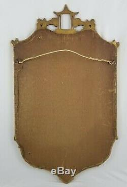Vintage Pagode Chinoiserie Or Gilded En Bois Sculpté Miroir Chinois Chippendale