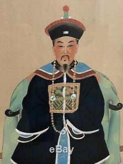 Vintage Peintures Chinois Empereur Empress Ancêtre Portraits Sur Soie, Encadré 23