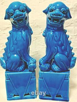 Vintage Porcelaine Chinoise Turquoise Foo Dog Figurines Une Paire Chinoiserie Chics