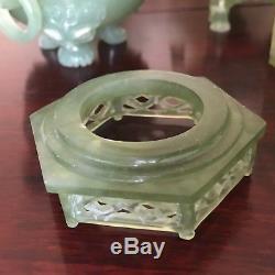 Vintg Chinese Export Sculpté Néphrite Jade Xiu Yu Brûleur D'encens-4 Pièces Pagode