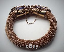 Vntg Chinese Export Bracelet Vermeil Argent Dragon Doré Oeil De Corail En Émail