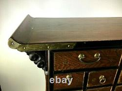 Vtg Antique Chinois Chine Comptoir Médecine Apothicaire Table Cabinet Chest