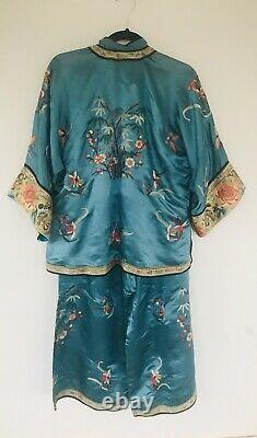 Vtg Chinois Qing Dynasty Déco Brodé Antique Robe Pyjama Lounge Set