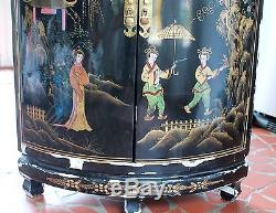 Vtg Oriental Chinese Furniture - Cabinet De Coin En Laque Noire Avec Motif De Dame