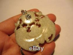 Xfine Rare Antique Chinois Jaune Coupée Jade Bat Pendentif Avec14k Bail-old Pc-no Res