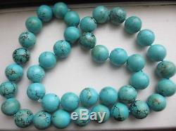 Xfine Vtg Huge 18-20 MM Collier Rond Perlé Turquoise