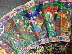 Xixe Siècle Chine Canton Chinois Cent Visages Lacquer Fan & Box