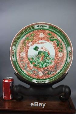 Xviiie / Xixe Siècle Symbole Kangxi Chinois Famille-rose Porcelaine Grand Plat